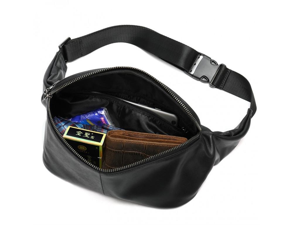 Чёрная кожаная сумка на пояс Tiding Bag NZC9066A - Фото № 3