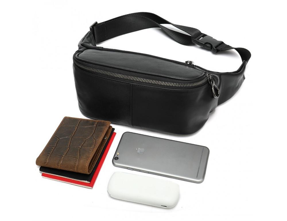 Чёрная кожаная сумка на пояс Tiding Bag NZC9066A - Фото № 4