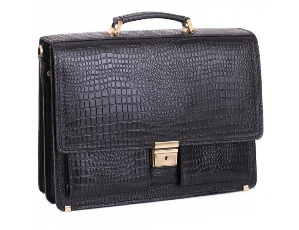Добротный мужской портфель из кожи под рептилию Manufatto ПАВ-25 кроко - Фото № 1