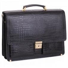Добротный мужской портфель из кожи под рептилию Manufatto ПАВ-25 кроко
