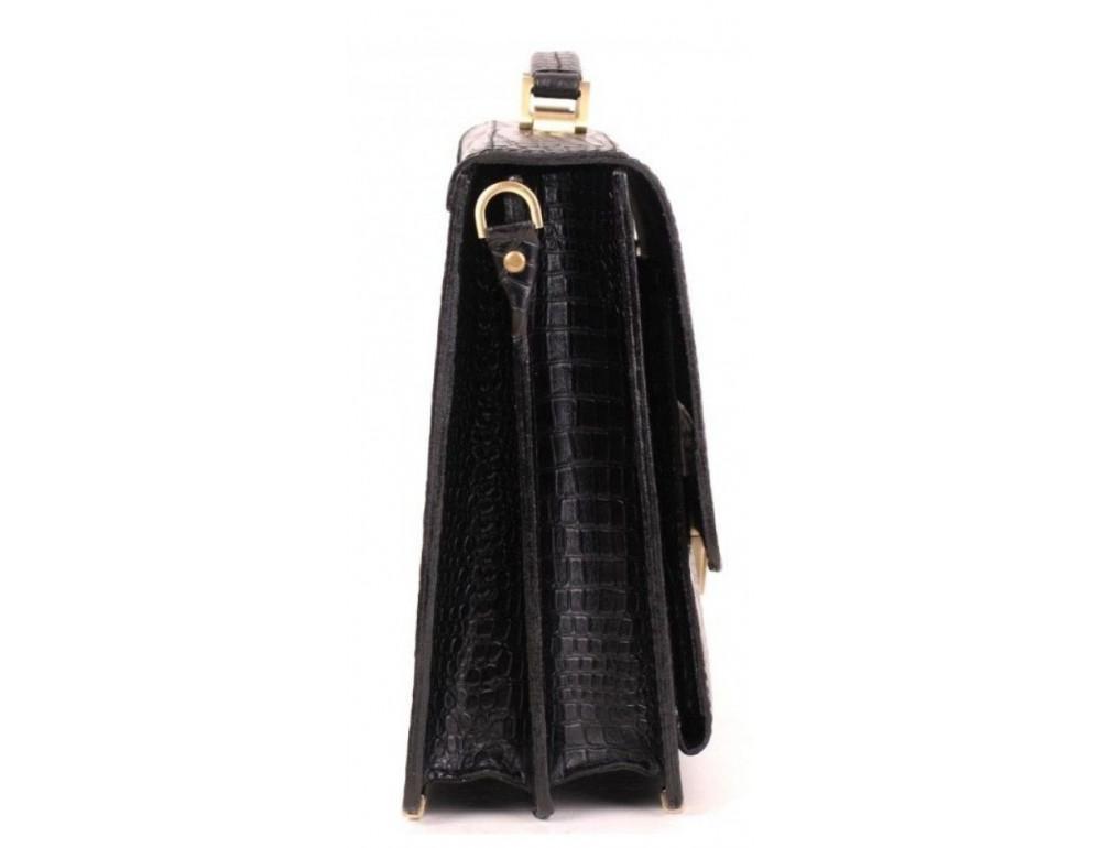 Добротный мужской портфель из кожи под рептилию Manufatto ПАВ-25 кроко - Фото № 4