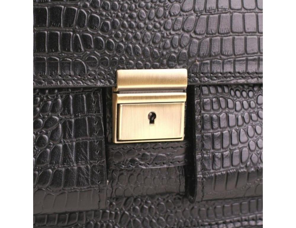 Добротный мужской портфель из кожи под рептилию Manufatto ПАВ-25 кроко - Фото № 7