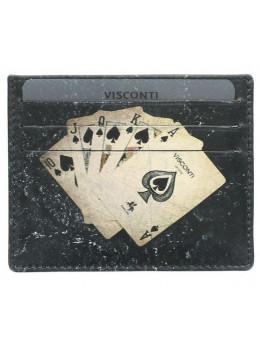 Чёрный кожаный Картхолдер Royal Flush Visconti PKR44 BLK