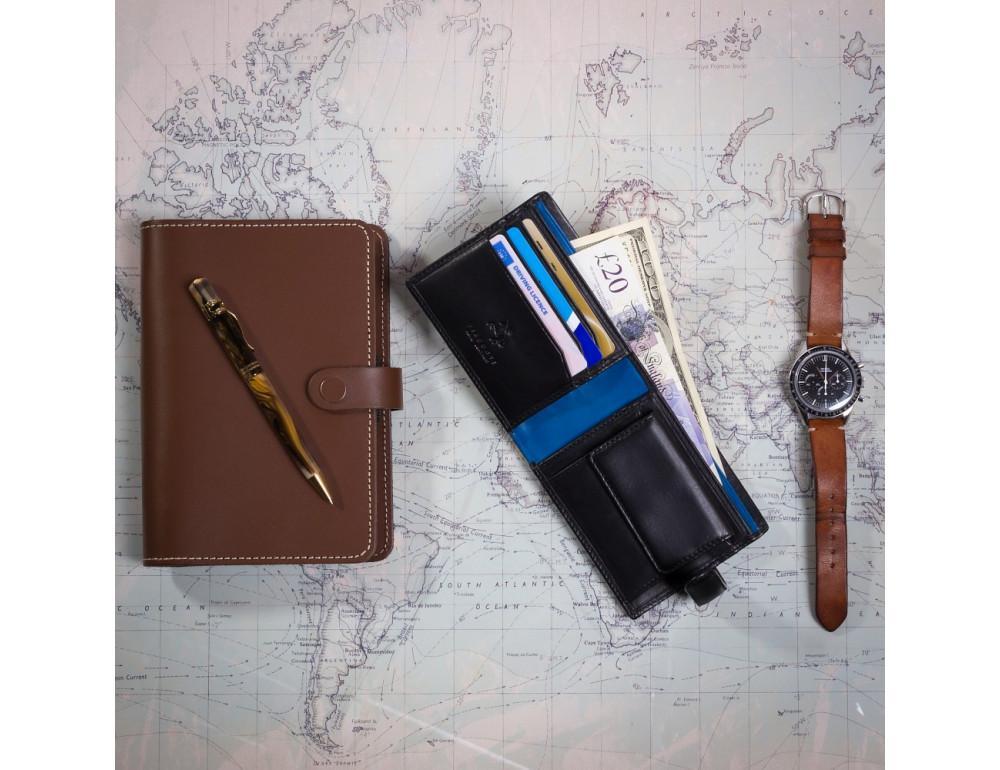 Мужской кожаный кошелек Visconti PM100 BK/CB Vincent чёрный - Фото № 6