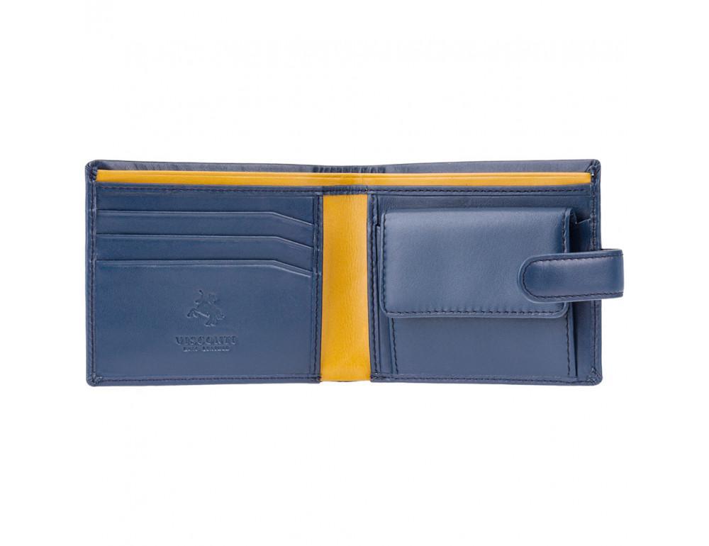 Мужской кожаный кошелек Visconti PM100 BL/MT синий с оранжевым - Фото № 2