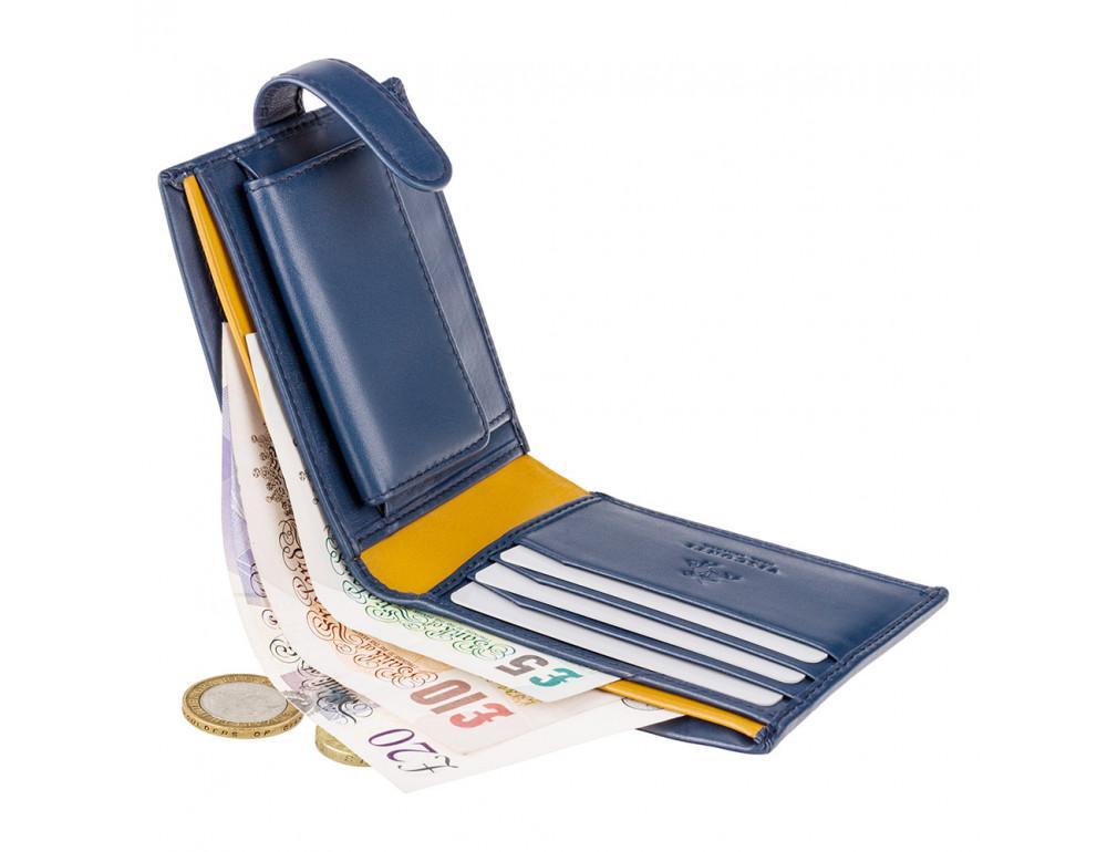 Мужской кожаный кошелек Visconti PM100 BL/MT синий с оранжевым - Фото № 4