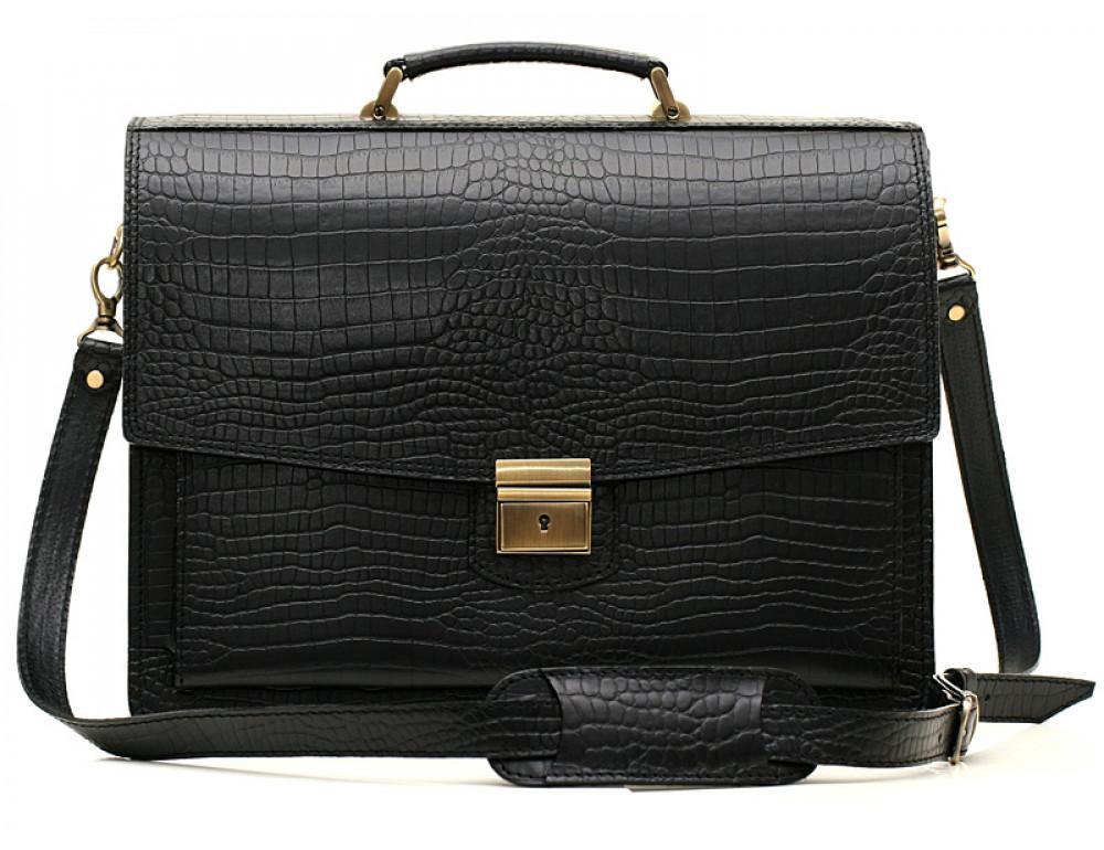 Вместительный кожаный портфель из кожи под крокодила Manufatto  ПАВ-20 кроко - Фото № 1