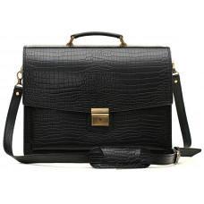 Вместительный кожаный портфель из кожи под крокодила Manufatto  ПАВ-20 кроко