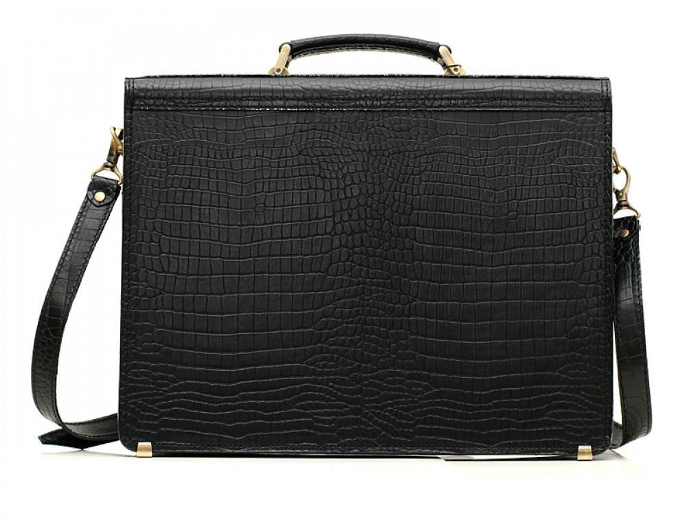 Вместительный кожаный портфель из кожи под крокодила Manufatto  ПАВ-20 кроко - Фото № 2