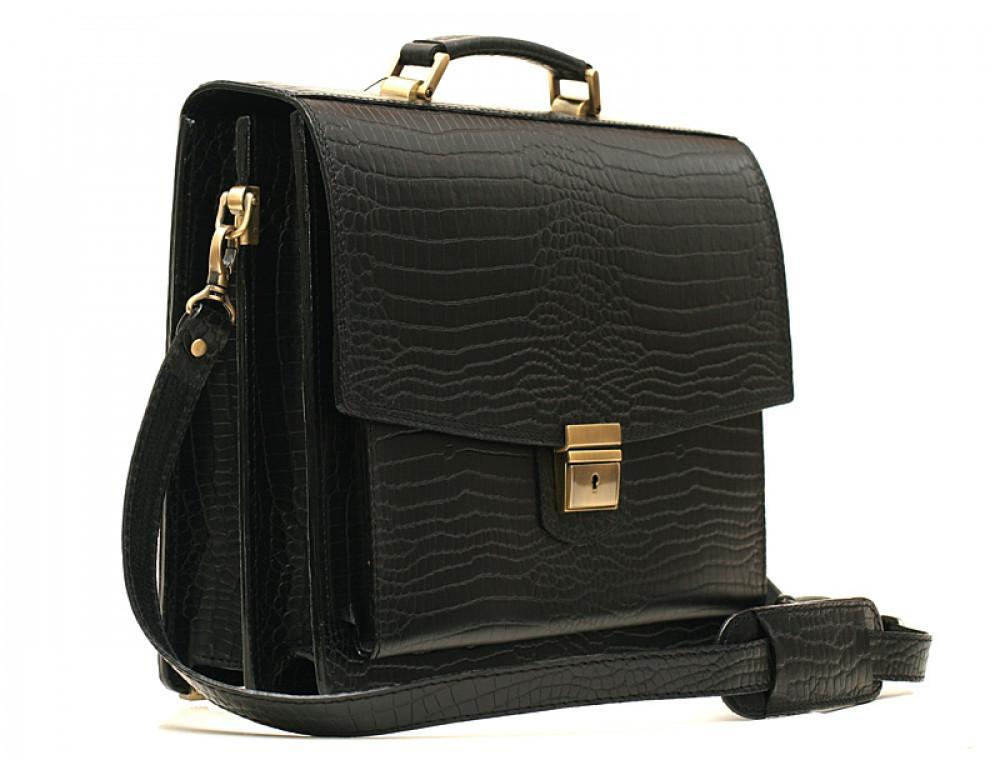 Вместительный кожаный портфель из кожи под крокодила Manufatto  ПАВ-20 кроко - Фото № 3