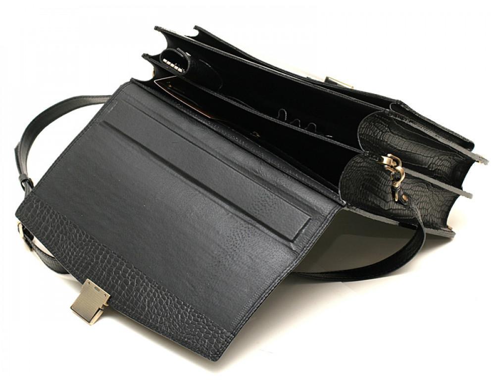 Вместительный кожаный портфель из кожи под крокодила Manufatto  ПАВ-20 кроко - Фото № 4