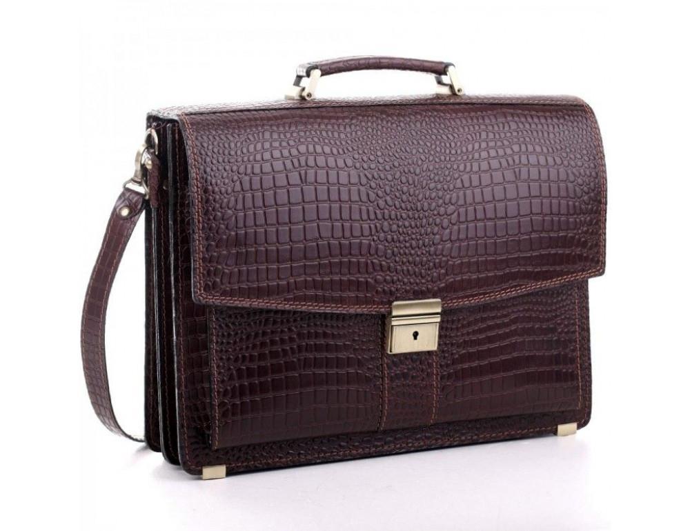 Коричневый мужской портфель из натуральной кожи Manufatto ПАВ-20C кроко - Фото № 1