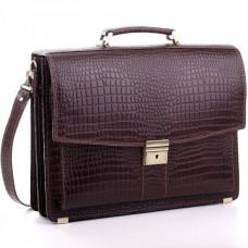 Коричневый мужской портфель из натуральной кожи Manufatto ПАВ-20C кроко