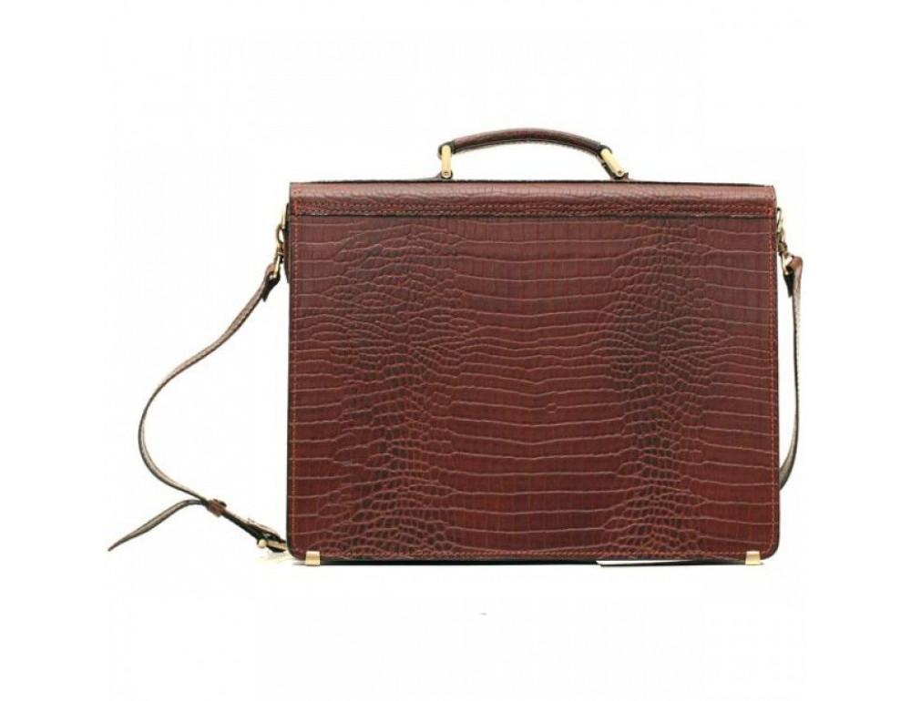 Коричневый мужской портфель из натуральной кожи Manufatto ПАВ-20C кроко - Фото № 2