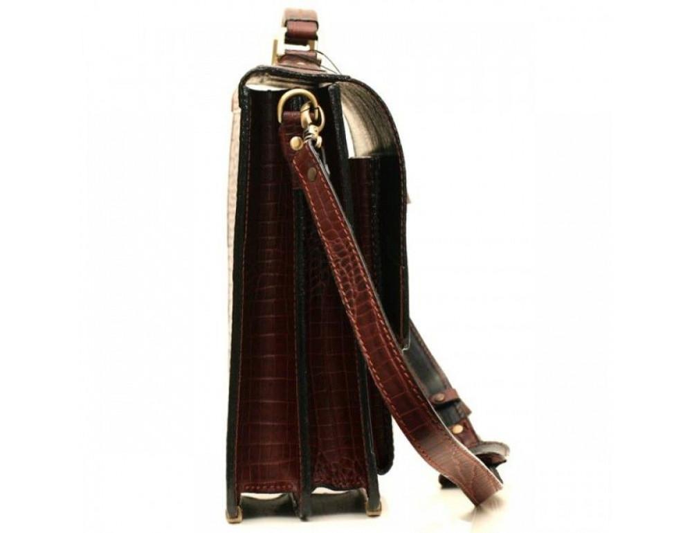Коричневый мужской портфель из натуральной кожи Manufatto ПАВ-20C кроко - Фото № 3