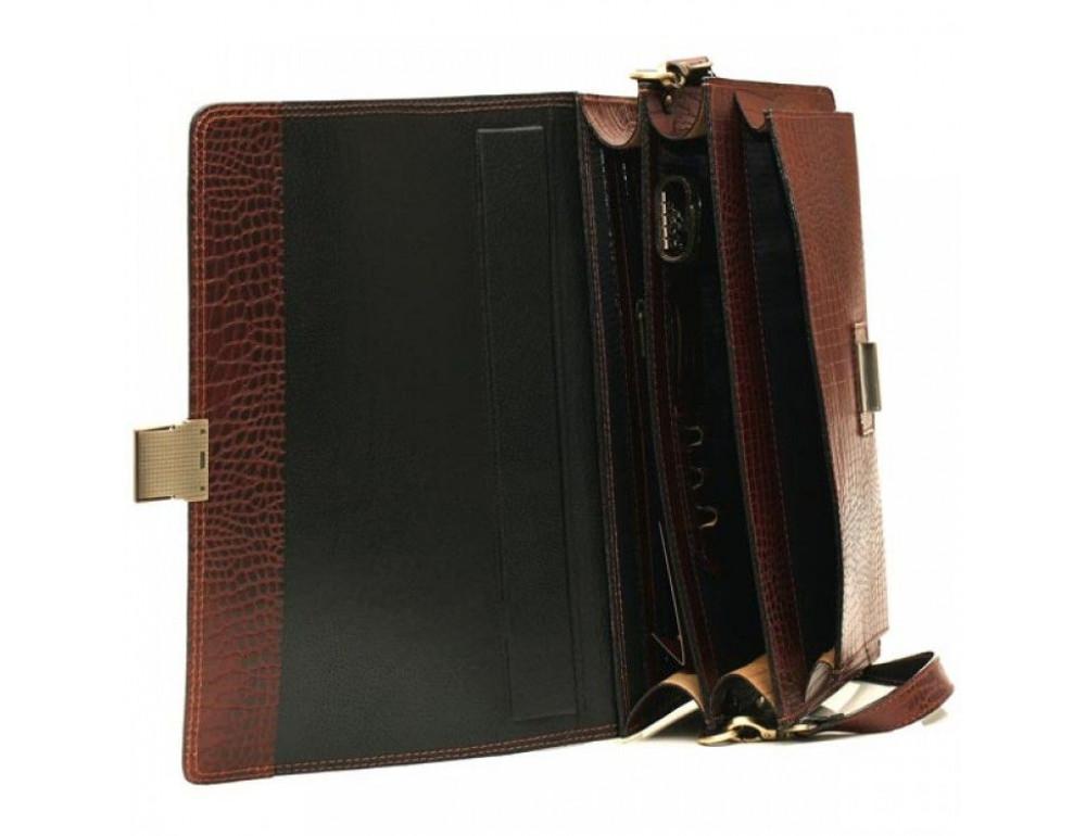 Коричневый мужской портфель из натуральной кожи Manufatto ПАВ-20C кроко - Фото № 4