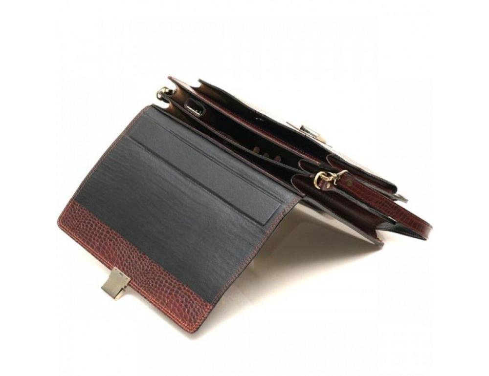 Коричневый мужской портфель из натуральной кожи Manufatto ПАВ-20C кроко - Фото № 5