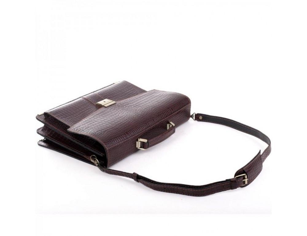 Коричневый мужской портфель из натуральной кожи Manufatto ПАВ-20C кроко - Фото № 6