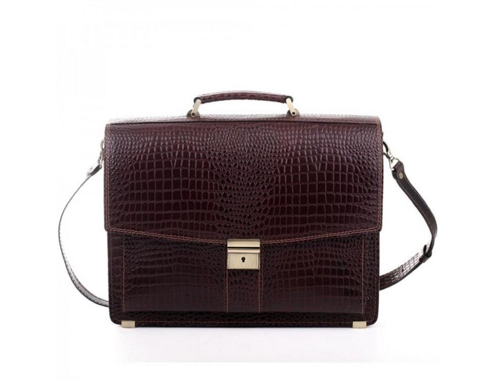 Коричневый мужской портфель из натуральной кожи Manufatto ПАВ-20C кроко - Фото № 7