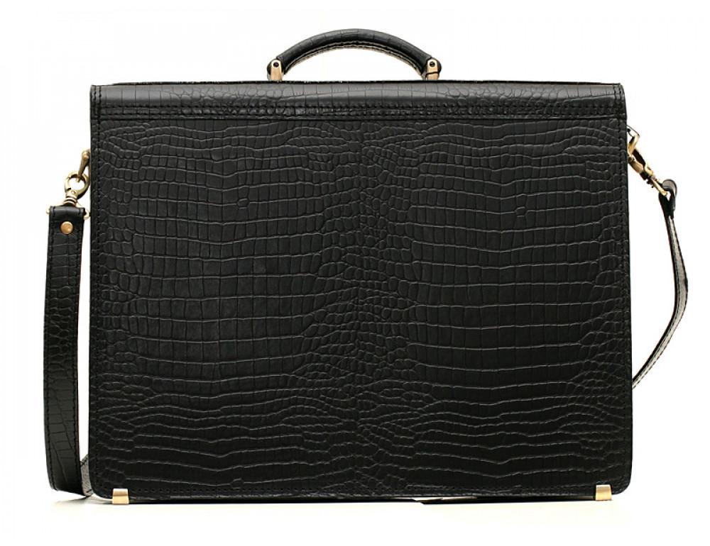 Добротный мужской портфель из кожи под рептилию Manufatto ПАВ-25 кроко - Фото № 2