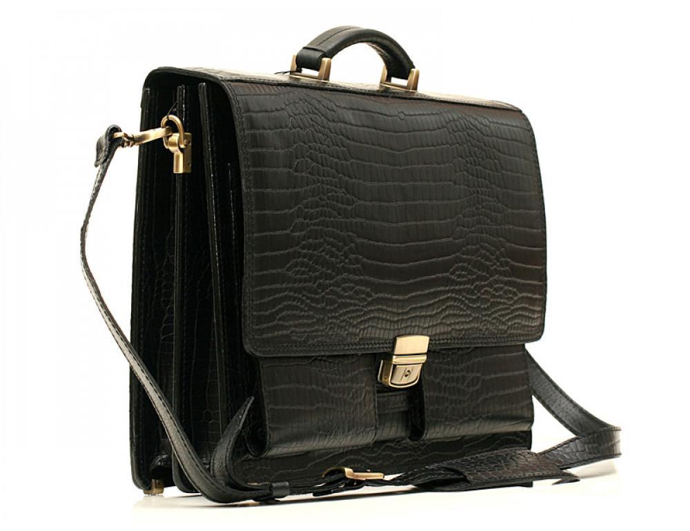 Добротный мужской портфель из кожи под рептилию Manufatto ПАВ-25 кроко - Фото № 3