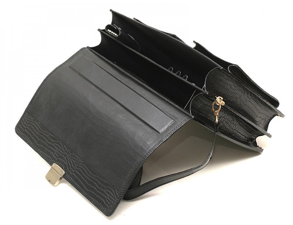 Добротный мужской портфель из кожи под рептилию Manufatto ПАВ-25 кроко - Фото № 5
