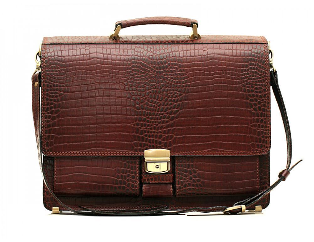 Коричневый мужской портфель из кожи под рептилию Manufatto ПАВ-25 кроко - Фото № 1