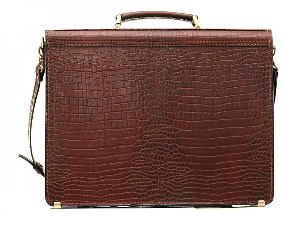 Коричневый мужской портфель из кожи под рептилию Manufatto ПАВ-25 кроко - Фото № 2