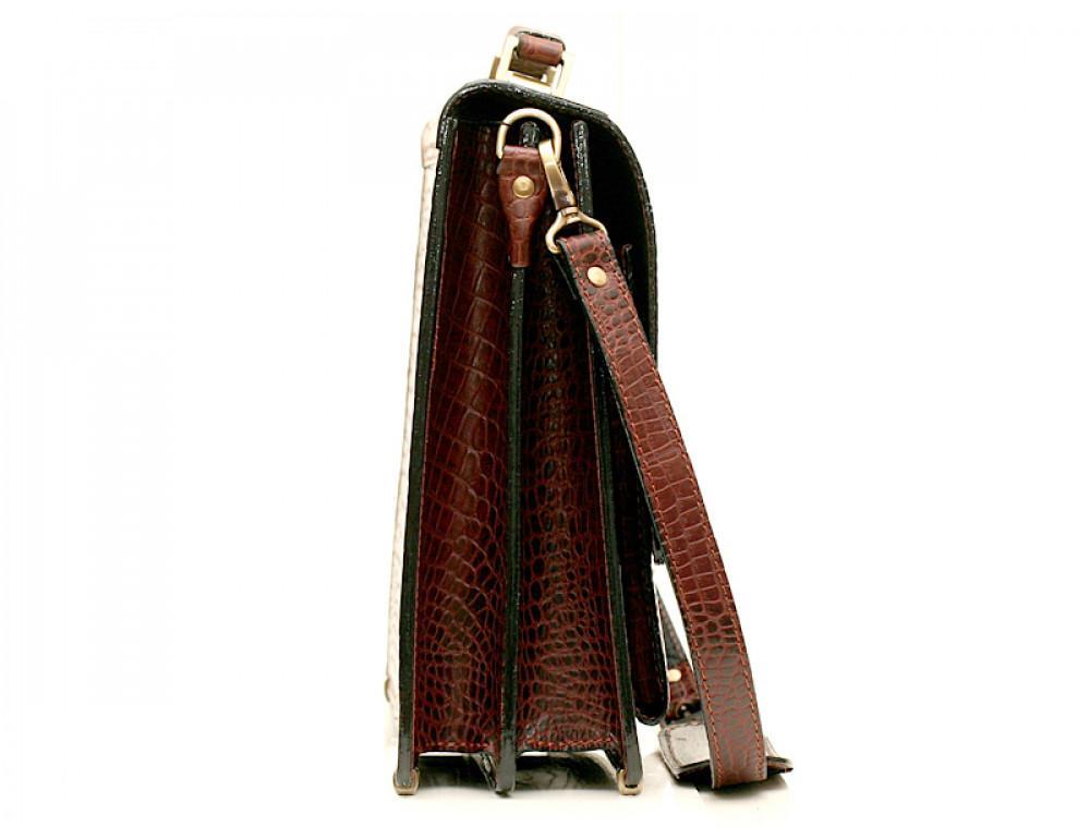 Коричневый мужской портфель из кожи под рептилию Manufatto ПАВ-25 кроко - Фото № 3