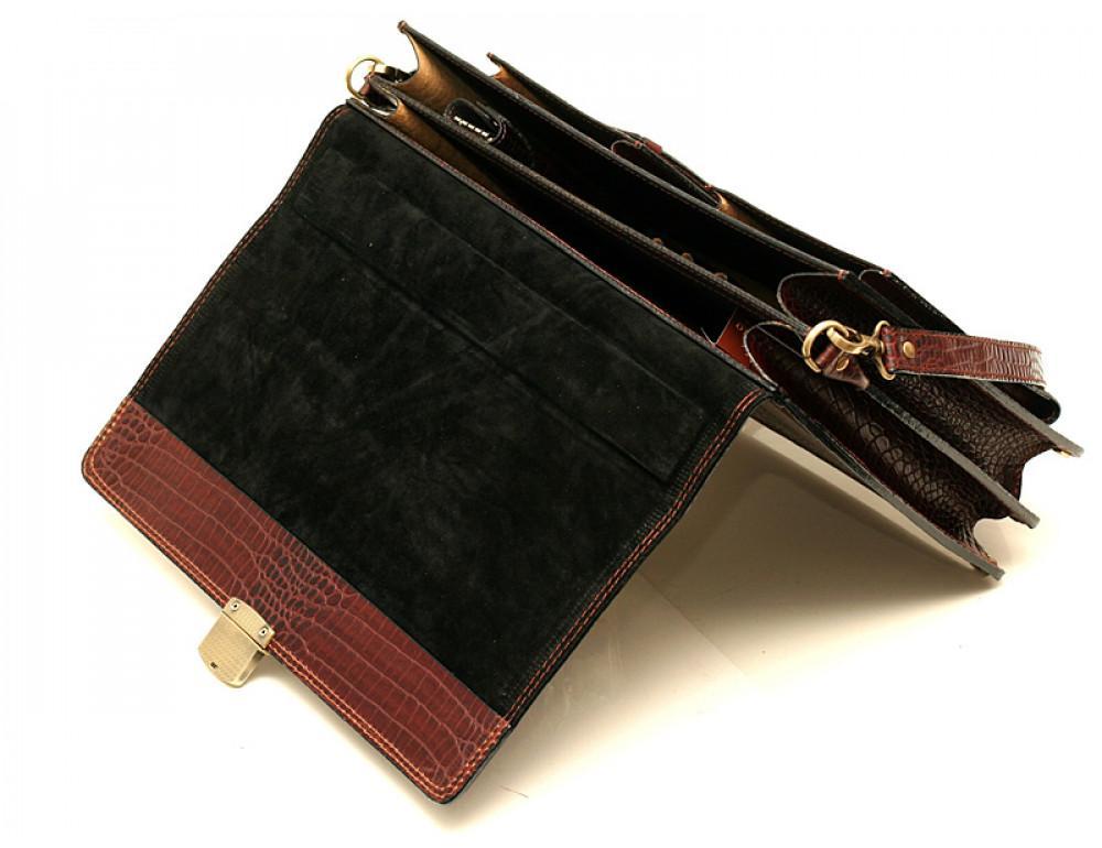 Коричневый мужской портфель из кожи под рептилию Manufatto ПАВ-25 кроко - Фото № 4