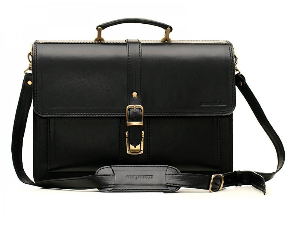 Черный кожаный портфель мужской Manufatto РП-10 - Фото № 1