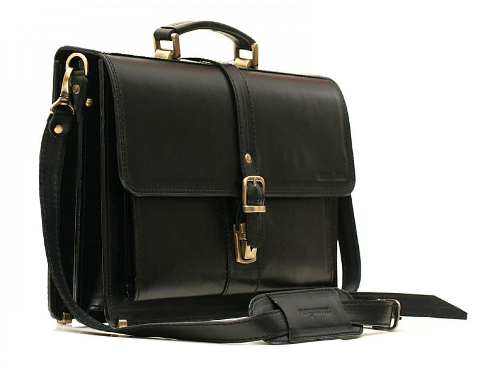Черный кожаный портфель мужской Manufatto РП-10 - Фото № 3