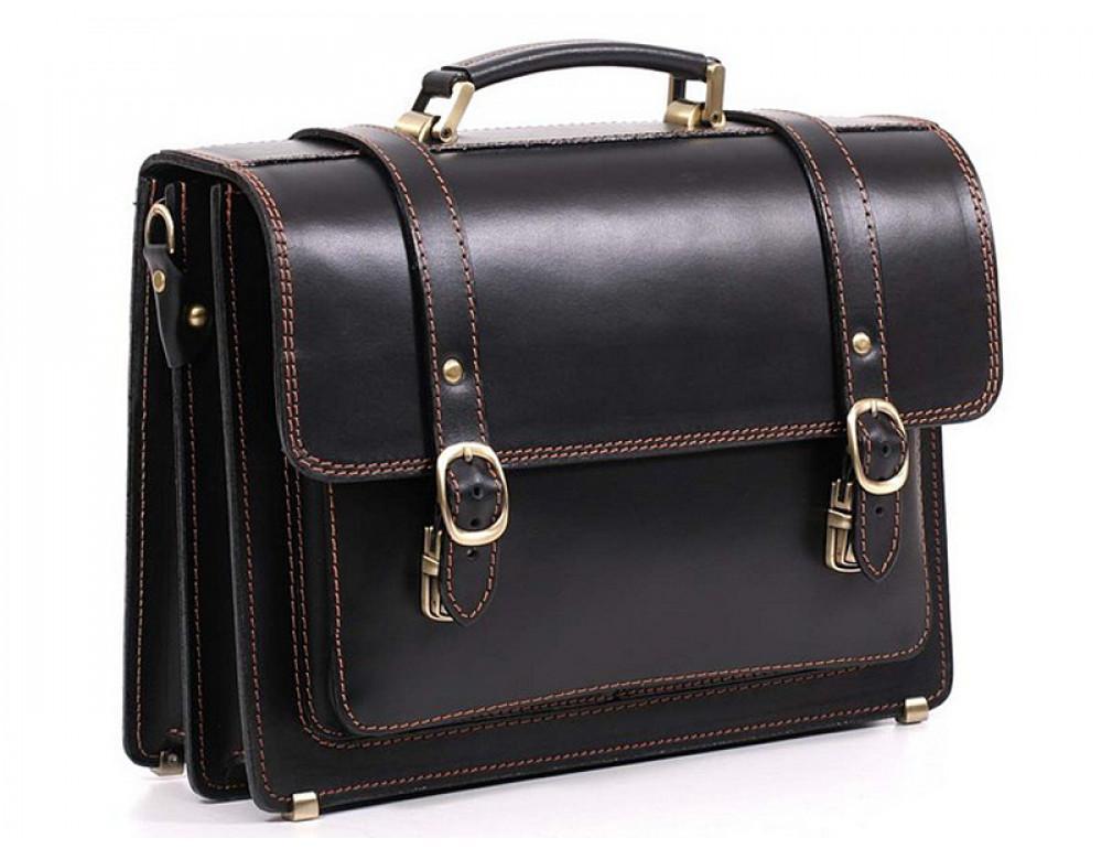 Черный мужской портфель из натуральной кожи Manufatto 10088