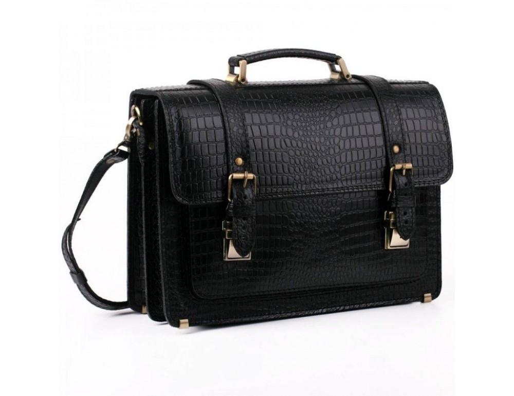 Чорний чоловічий портфель зі шкіри під крокодила Manufatto СПС-1 кроко - Фотографія № 1