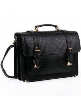 Черный мужской портфель из кожи под крокодила Manufatto СПС-1 кроко