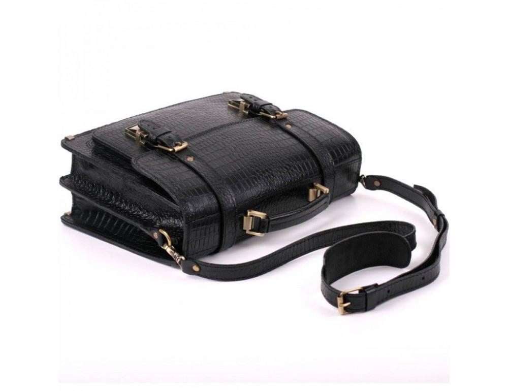 Чорний чоловічий портфель зі шкіри під крокодила Manufatto СПС-1 кроко - Фотографія № 3