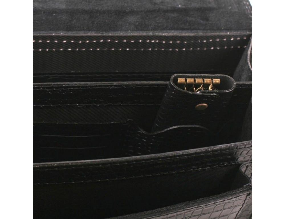 Чорний чоловічий портфель зі шкіри під крокодила Manufatto СПС-1 кроко - Фотографія № 4