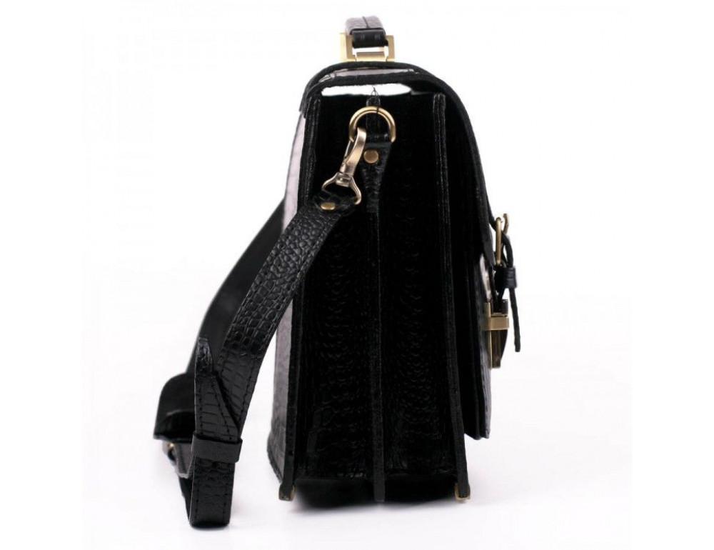 Чорний чоловічий портфель зі шкіри під крокодила Manufatto СПС-1 кроко - Фотографія № 5