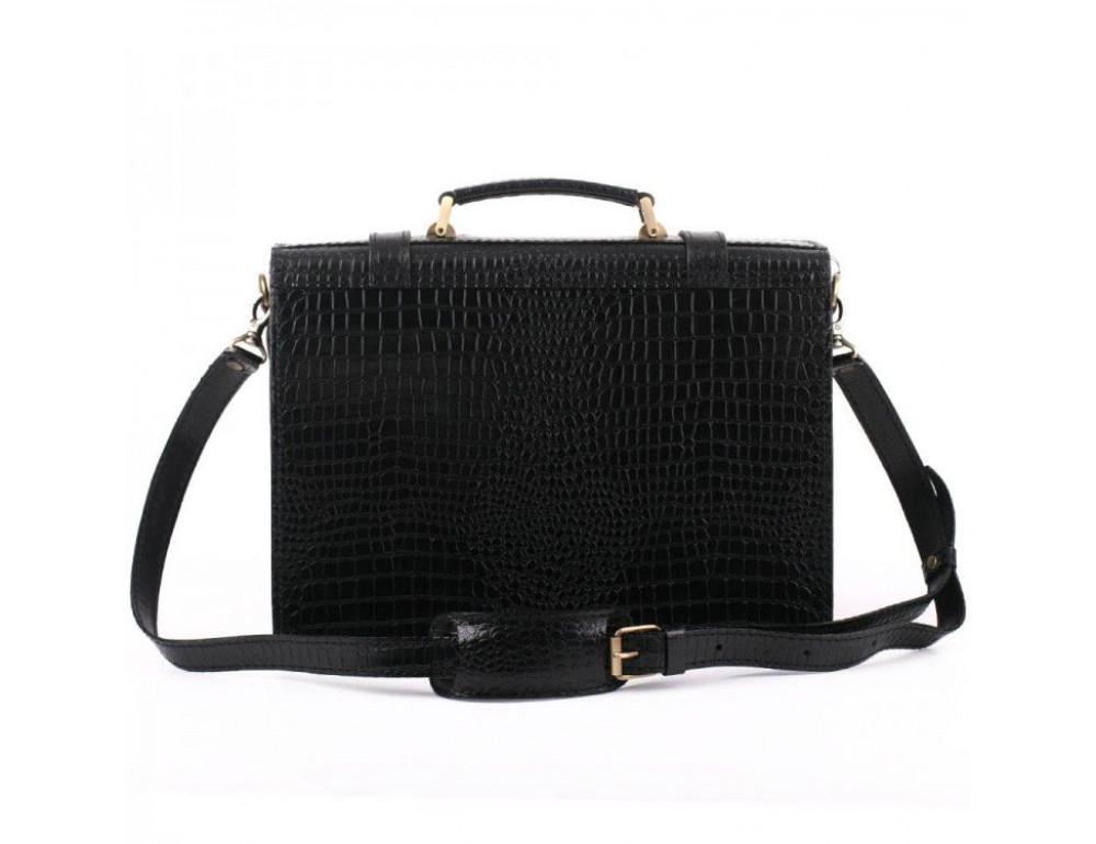 Чорний чоловічий портфель зі шкіри під крокодила Manufatto СПС-1 кроко - Фотографія № 6