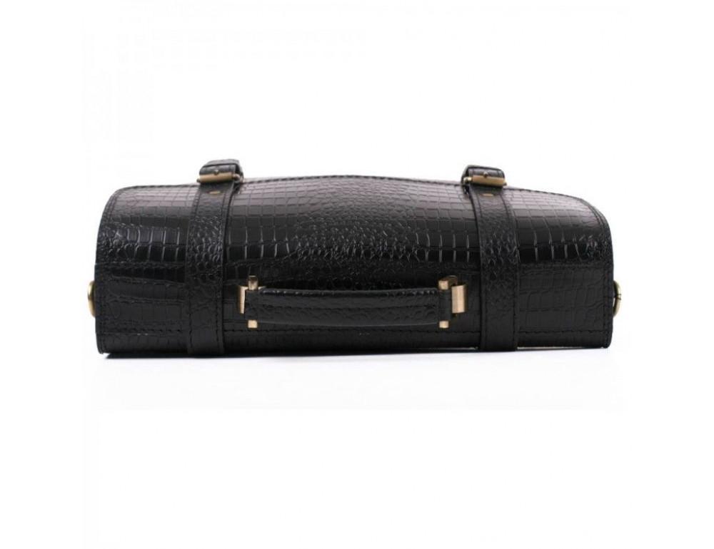 Чорний чоловічий портфель зі шкіри під крокодила Manufatto СПС-1 кроко - Фотографія № 7