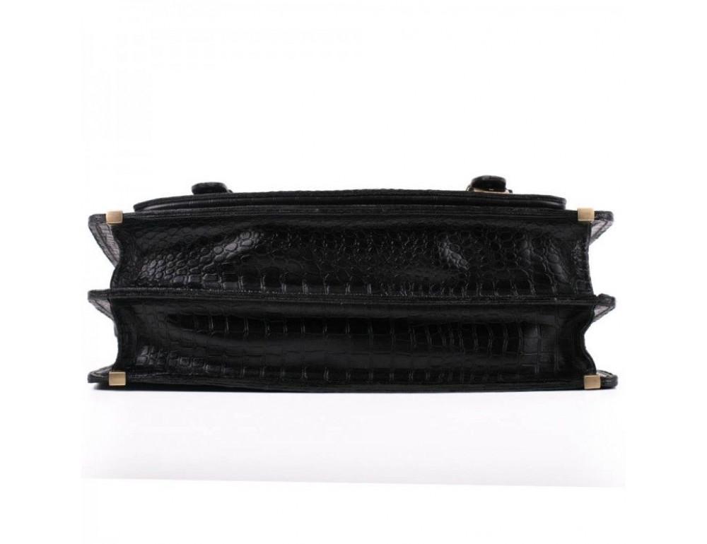 Чорний чоловічий портфель зі шкіри під крокодила Manufatto СПС-1 кроко - Фотографія № 8