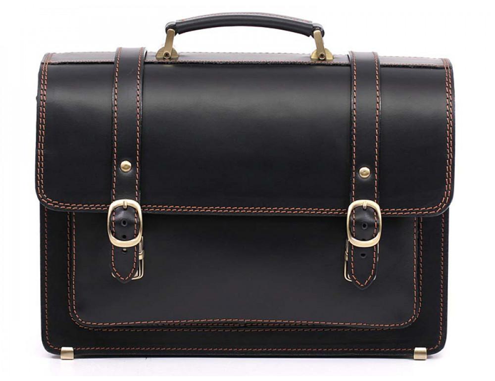 Черный мужской портфель из натуральной кожи Manufatto 10088 - Фото № 3