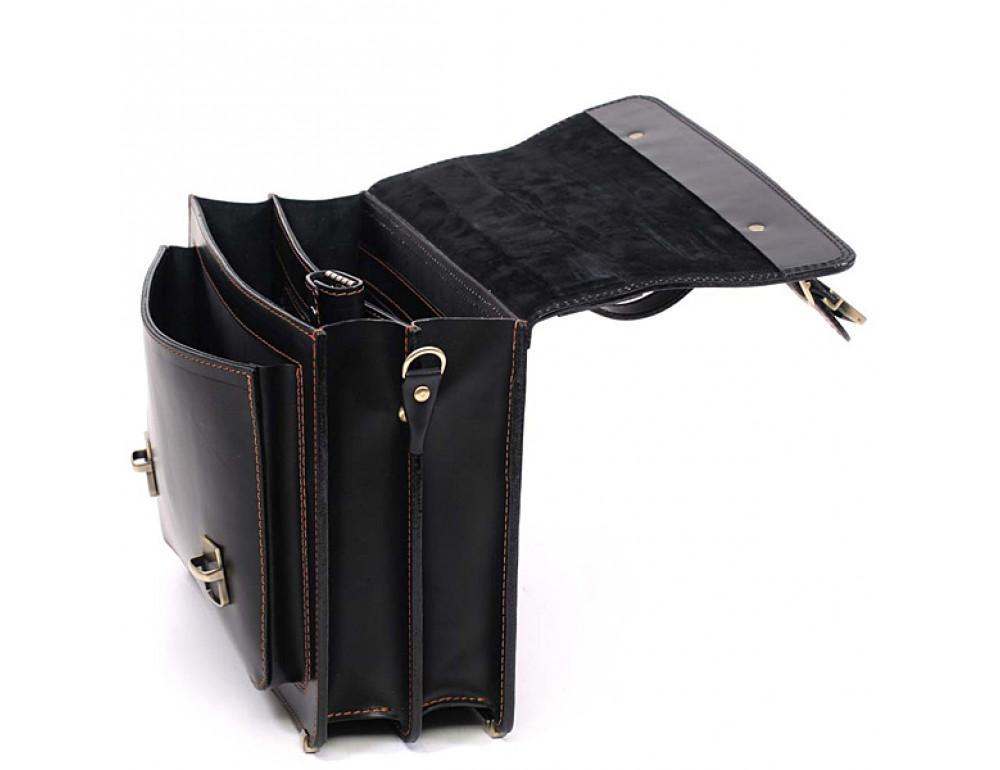 Черный мужской портфель из натуральной кожи Manufatto 10088 - Фото № 6