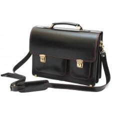 Черный портфель мужской Manufatto СПС-2 с коричневой нитью