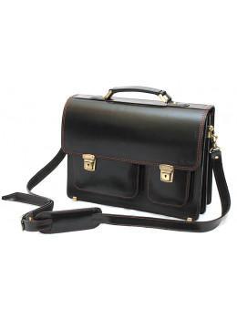 Чорний портфель чоловічий Manufatto СПС-2 з коричневою ниткою