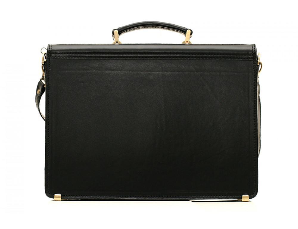 Черный портфель мужской Manufatto СПС-2 с коричневой нитью - Фото № 2