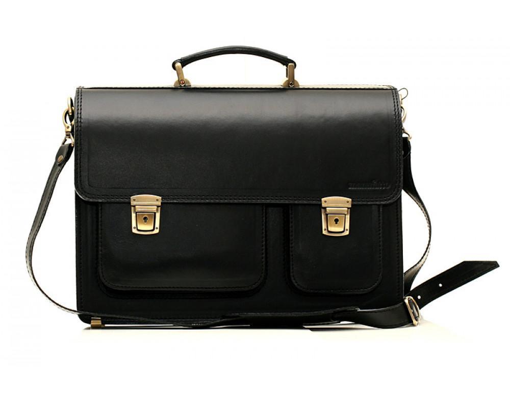 Черный портфель мужской Manufatto СПС-2 с коричневой нитью - Фото № 3