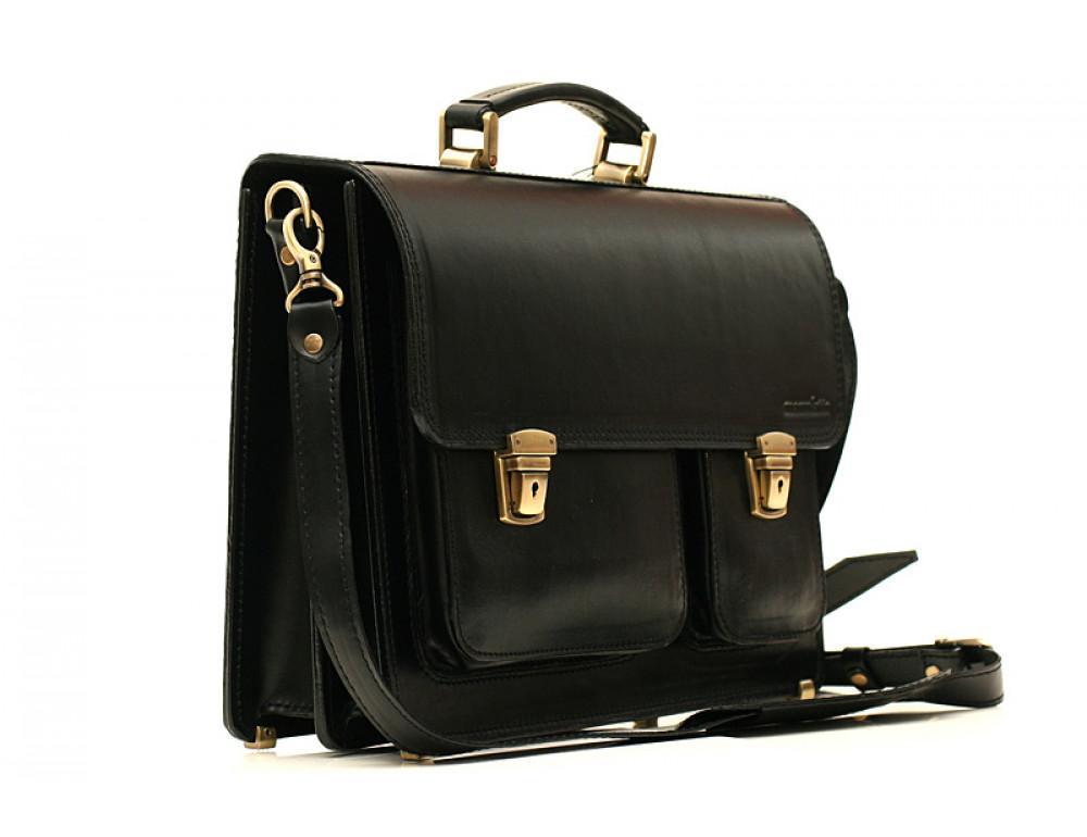 Черный портфель мужской Manufatto СПС-2 с коричневой нитью - Фото № 4