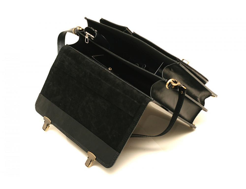Черный портфель мужской Manufatto СПС-2 с коричневой нитью - Фото № 6