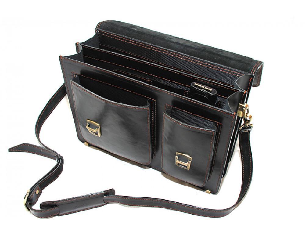 Черный портфель мужской Manufatto СПС-2 с коричневой нитью - Фото № 7